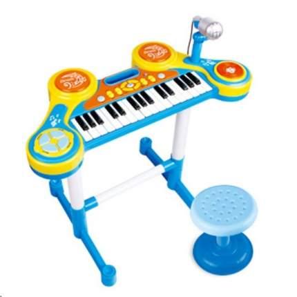 Игрушечный синтезатор Babydays, со стульчиком, микрофоном, ударными, HC-3012C (голубой)