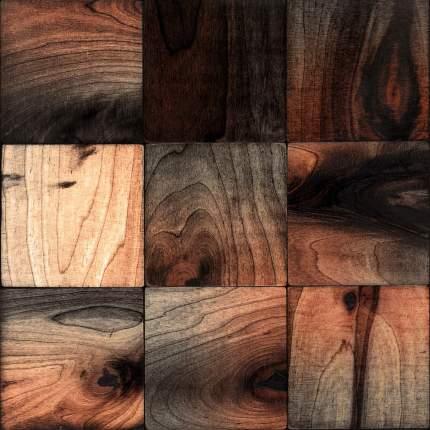 Клиган 100x100. Деревянная настенная плитка на самоклеющейся основе 300x300 мм
