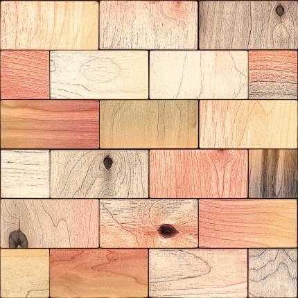 Пайк 50x100. Деревянная настенная плитка на самоклеющейся основе 300x300 мм
