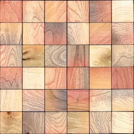 Пайк 50x50. Деревянная настенная плитка на самоклеющейся основе 300x300 мм