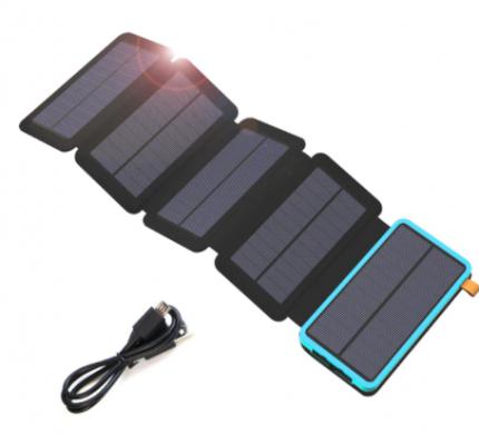 Внешний аккумулятор Power Bank с солнечной батареей 20000 мАч, голубой