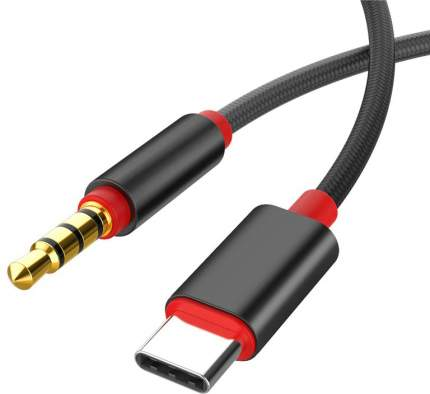 Кабель аудио и микрофон Gsmin B56 USB Type-C - AUX 3,5 мм в оплетке (1 м) Black