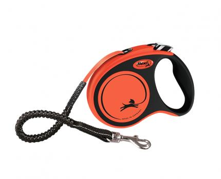 Поводок-рулетка flexi, Xtreme tape S, 5м, до 20кг, черный, оранжевый