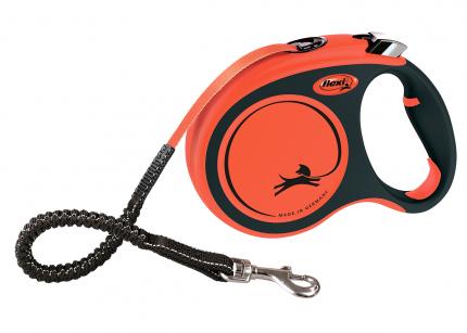 Поводок-рулетка flexi,  Xtreme tape L 5м, до 65кг, черный, оранжевый