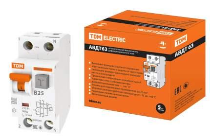 Дифавтомат TDM ELECTRIC АВДТ 63 2Р(1Р+N) B25 10мА 6кА тип А SQ0202-0010