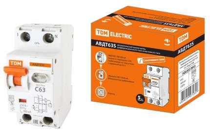 Дифавтомат TDM ELECTRIC АВДТ 63S 2P(1P+N) C63 300мА 6кА тип АС SQ0202-0043