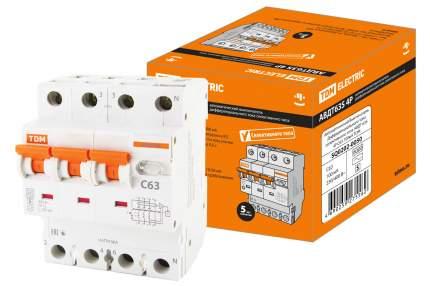Дифавтомат TDM ELECTRIC АВДТ 63S 4P(3P+N) C63 100мА 6кА тип АС SQ0202-0050