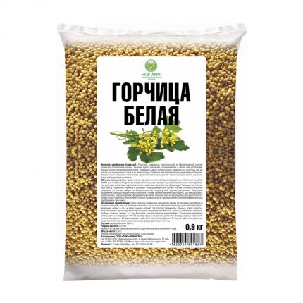 Семена газонных трав и сидератов Русский огород Сидерат Нов-Агро Горчица белая 0,9 кг