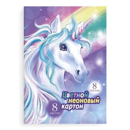 Цветной картон неоновый арт. 52245 ЕДИНОРОГ НА РАДУГЕ Феникс+