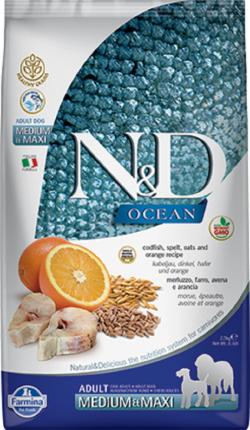 Сухой корм для собак Farmina N&D Ocean Adult Medium&Maxi, треска и апельсин, 2,5кг