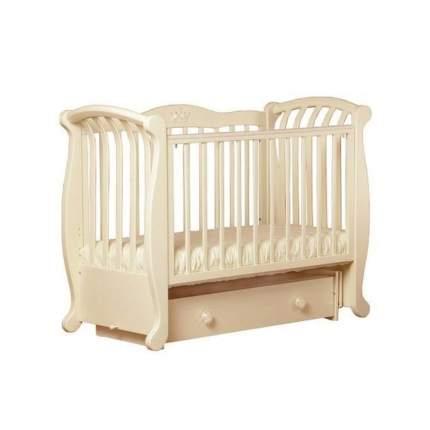 БИ 555.2 Магнолия кроватка маятниковая поперечная с декором №006 слоновая кость