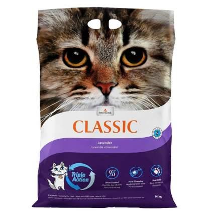 Комкующийся наполнитель для кошек Intersand Classic глиняный, лаванда, 14 кг