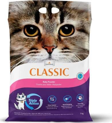 Комкующийся наполнитель для кошек Intersand Classic глиняный, детская присыпка, 7 кг