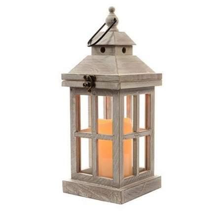 Kaemingk Фонарь деревянный «Астрея» со светодиодной свечой, 36*14 см, серый 482456