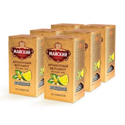 """Чай Майский """"Ароматный Бергамот"""", чёрный с добавками, 25 сашетов х 6 упаковок"""