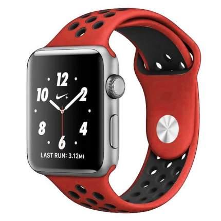 Ремешок Krutoff Silicone Sport для Apple Watch 42/44mm (red/black)