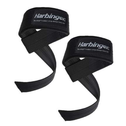 Хлопчатобумажные ремни для тяги Harbinger с подкладками на запястьях Big Grip® Black