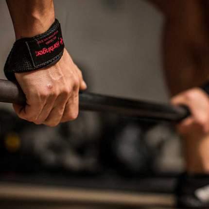 Хлопчатобумажные ремни для тяги Harbinger с подкладками на запястьях Black