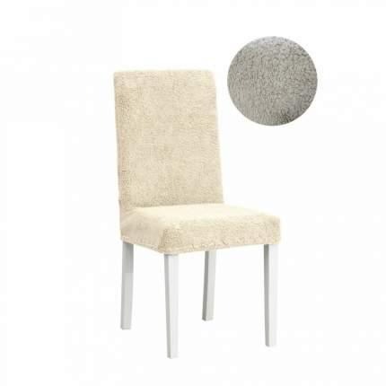 Чехол на стул плюшевый Venera, цвет светло-бежевый, 1 предмет