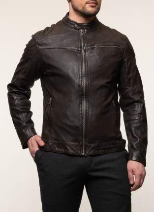 Куртка кожаная мужская КАЛЯЕВ 45368 коричневая 58 RU