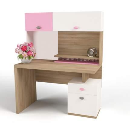 Стол письменный ABC-KING правый MIX BUNNY розовый