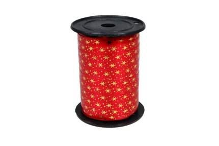 Лента НГ простая 1/100 с нанесением металла, снежинки РД красная