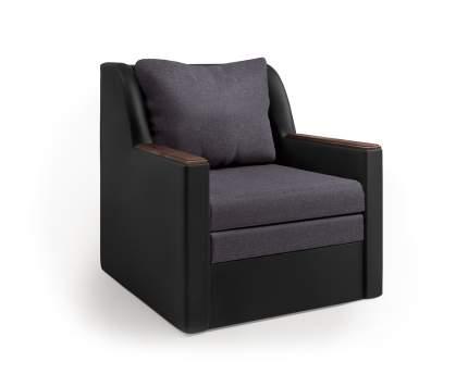 Кресло-кровать Соло экокожа черный и серая рогожка