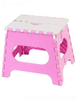 Табурет складной пластиковый средний 100105, белый/розовый, Трикап