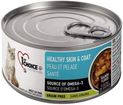 Консервы для кошек 1st choice Healthy Skin & Coat, с лососем в масле тунца, 24шт по 85г