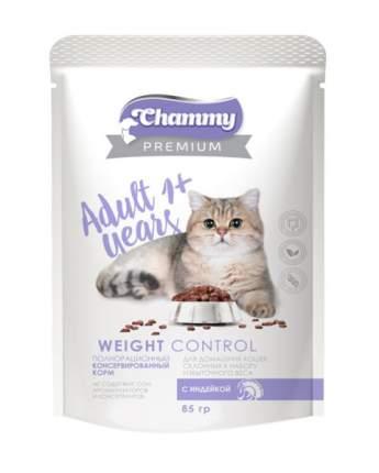 Влажный корм для кошек Chammy Premium Weight Control, диетический, с индейкой, 24шт по 85г