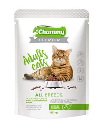 Влажный корм для кошек Chammy Premium Adult All Breeds, с мясным ассорти, 24шт по 85г