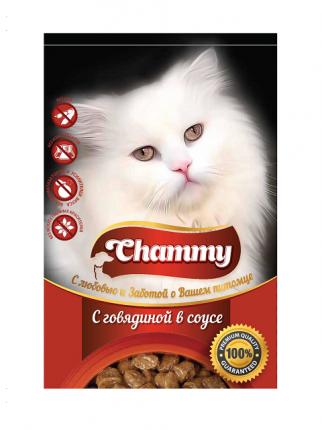 Влажный корм для кошек Chammy, с говядиной в соусе, 24шт по 85г