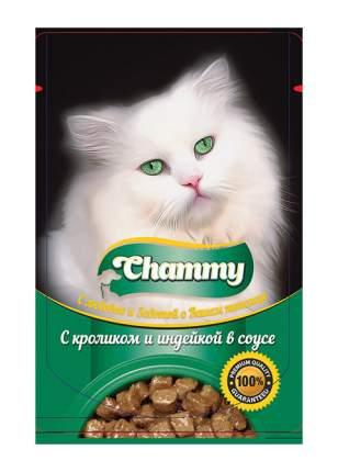 Влажный корм для кошек Chammy, с кроликом и индейкой в соусе, 24шт по 85г