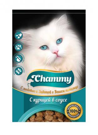 Влажный корм для кошек Chammy, с курицей в соусе, 24шт по 85г