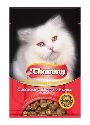 Влажный корм для кошек Chammy, с лососем и форелью в соусе, 24шт по 85г