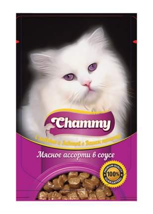 Влажный корм для кошек Chammy, с мясным ассорти в соусе, 24шт по 85г