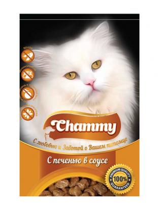 Влажный корм для кошек Chammy, с печенью в соусе, 24шт по 85г