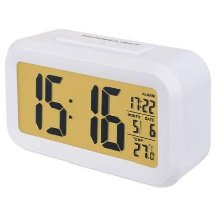 "Perfeo Часы-будильник ""Snuz"", белый, (PF-S2166) время, температура, дата"