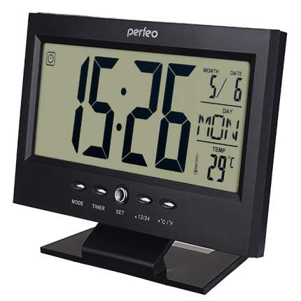 "Perfeo Часы-будильник ""Set"", чёрный, (PF-S2618) время, температура, дата"