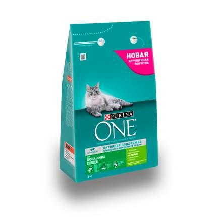 Сухой корм для кошек Purina One, для домашних, индейка, 3кг
