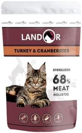 Влажный корм для кошек Landor для стерилизованных взрослых, индейка, клюква, 85г