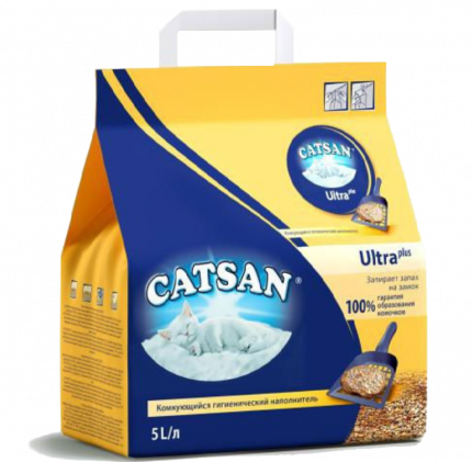 Комкующийся наполнитель для кошек Catsan Ultra глиняный, 5.17 кг, 5 л