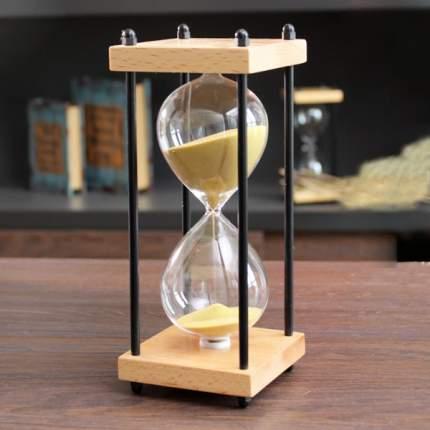 Песочные часы в каркасе из бука TND, «Золотой песок» на 30 минут, 00800