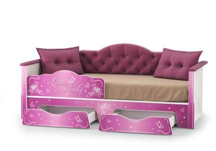 Кровать Mobi Ноктюрн белый, велутто 15 темный ягодный 180x80 см