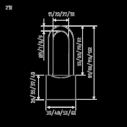 Замок навесной ЗН-210-50 мм (3кл.) (шт.) Нора-М