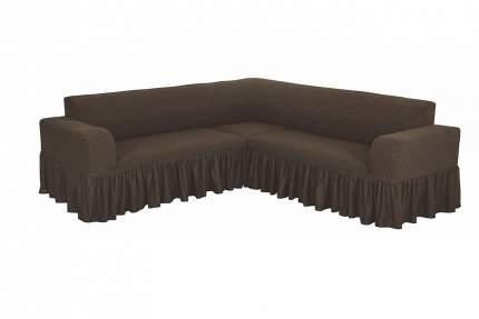 """Чехол на угловой диван с оборкой Venera """"Жаккард"""", цвет коричневый"""