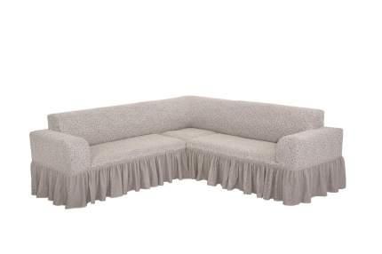 """Чехол на угловой диван с оборкой Venera """"Жаккард"""", цвет слоновая кость"""