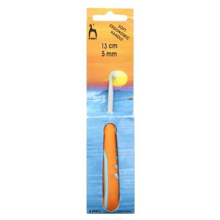 Крючок вязальный 5,00 мм/13 см, алюминий, с эргономичной ручкой PONY арт.59811