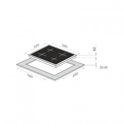 Встраиваемая индукционная панель HOMSAir HI64FLBK Black