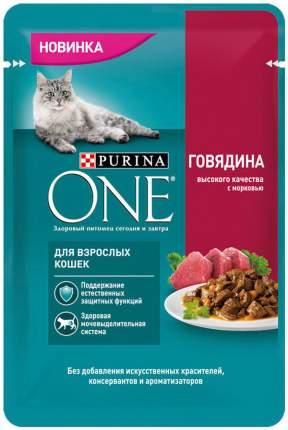Влажный корм для кошек Purina One, с говядиной и морковью, 26шт по 75г